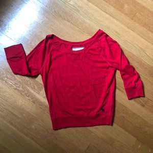 Abercrombie & Fitch red cotton 3/4 sleeve jersey